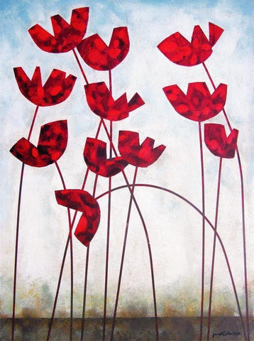 Modern Red Poppy Wall Art Print on canvas
