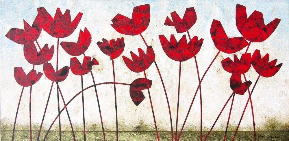 "Modern Red Poppy Canvas Print - ""Poppies"""
