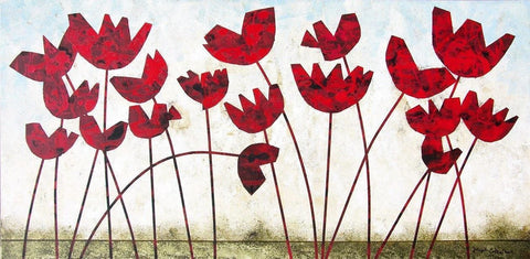 "Modern Red Poppy Painting - ""Poppies"" - 24"" x 48"""
