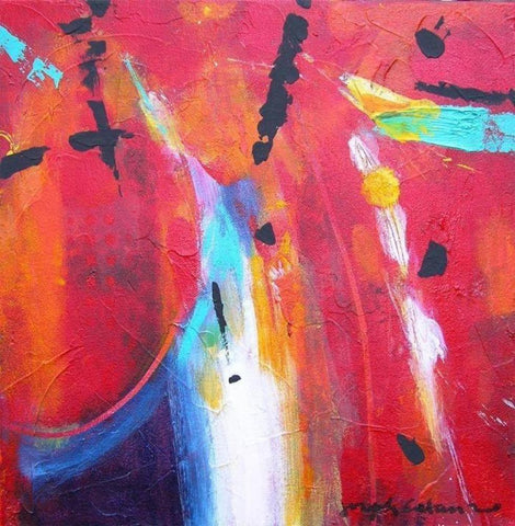 abstract art painting in red