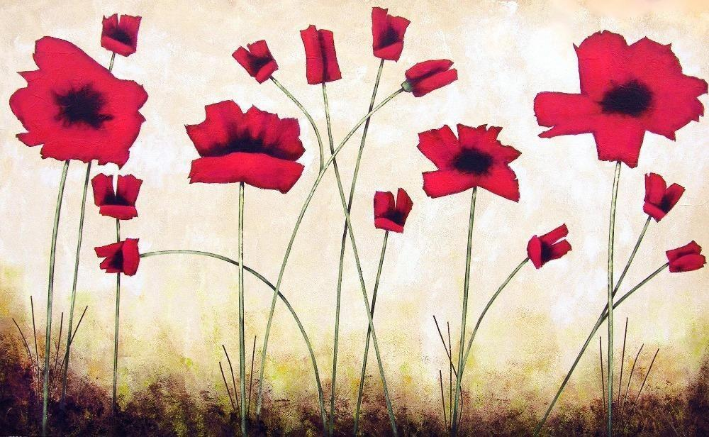"Red Poppy Painting Canvas Print - ""Playful Poppies"""