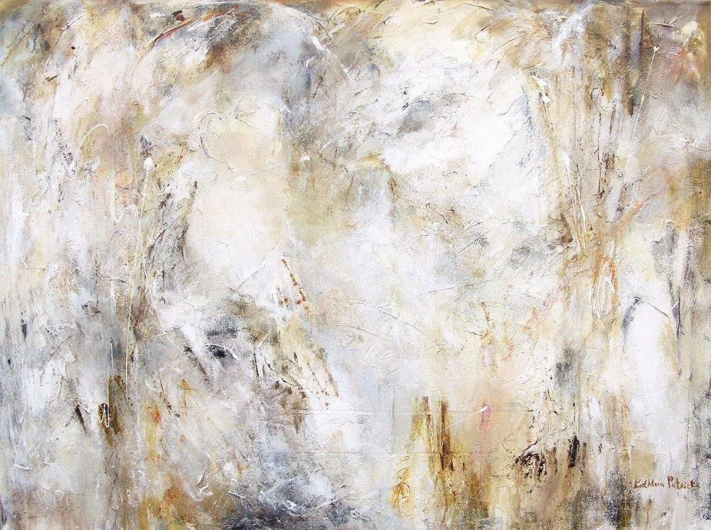 Abstract painting print in neutral tones.