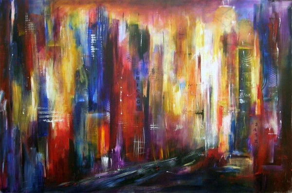 Abstract Chicago Cityscape Print on Canvas
