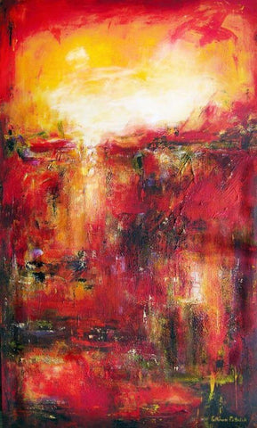 Contemporary abstract landscape print on canvas