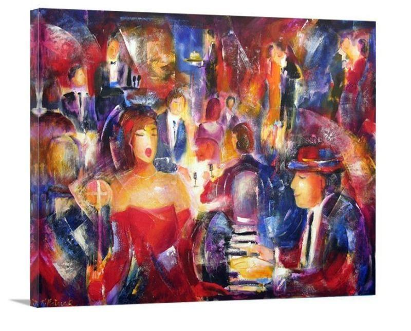 "Music Art Print - ""An Evening of Music, Dining and Dancing"" - Chicago Skyline Art"