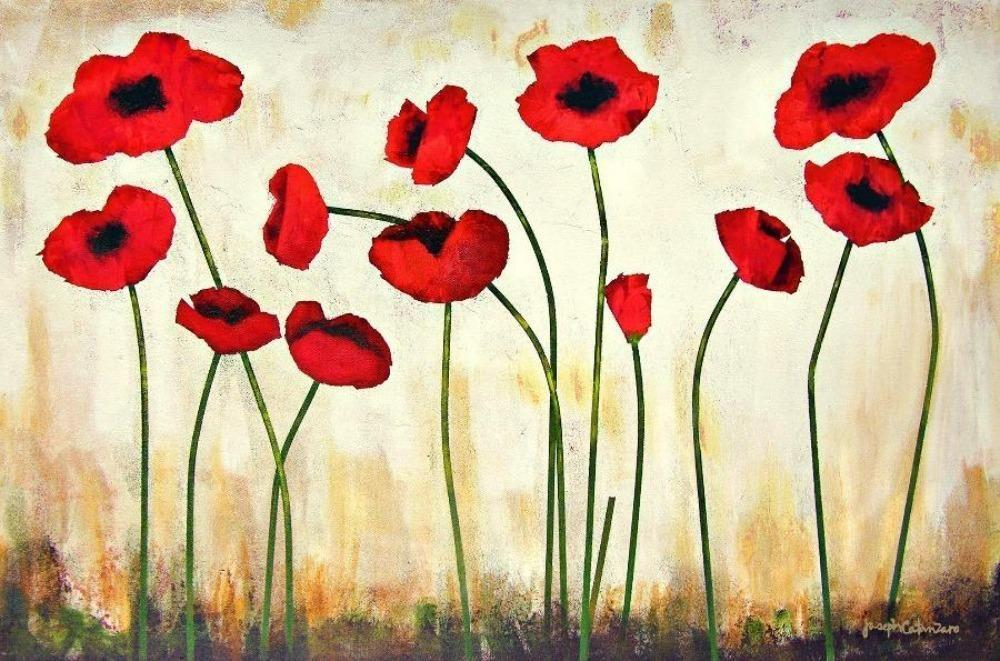 red poppy painting print on canvas by Joseph Catanzaro