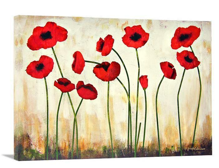 "Red Poppy Canvas Print - ""Bright Poppies"""