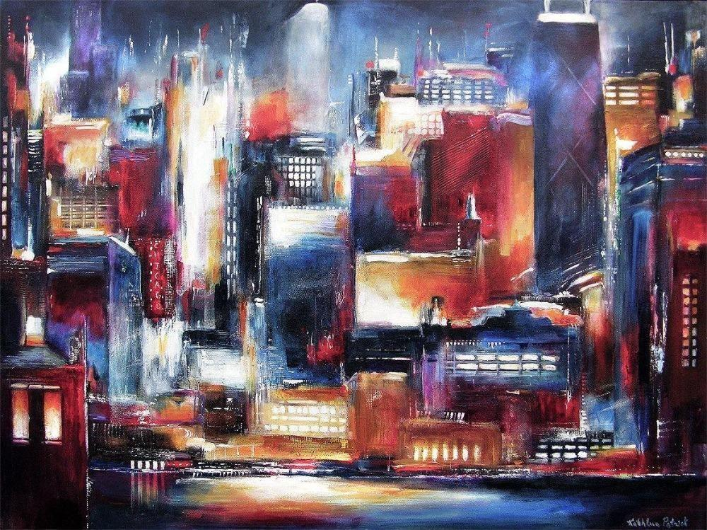 Painting ofChicago Skyline at Night