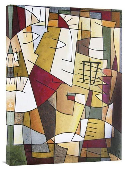 "Modern Cubism Music Art Canvas Print - ""Sax Solo"" - Chicago Skyline Art"