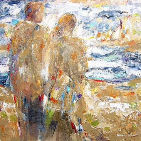 "Contemporary Seashore Art Print - ""By the Sea"" - Couple at the beach"