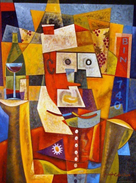 Cubism Wine Art Print on Canvas