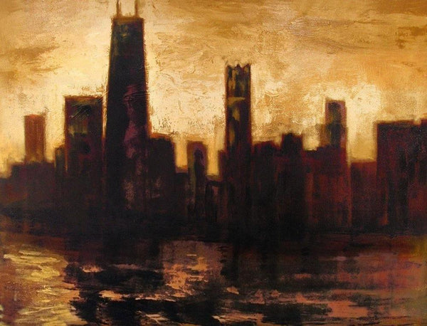 "Chicago Skyline Art Canvas Wrap Print - ""Chicago in the Golden Sunset"""