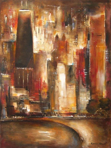 Cityscape painting of the Chicago skyline at Oak Beach.