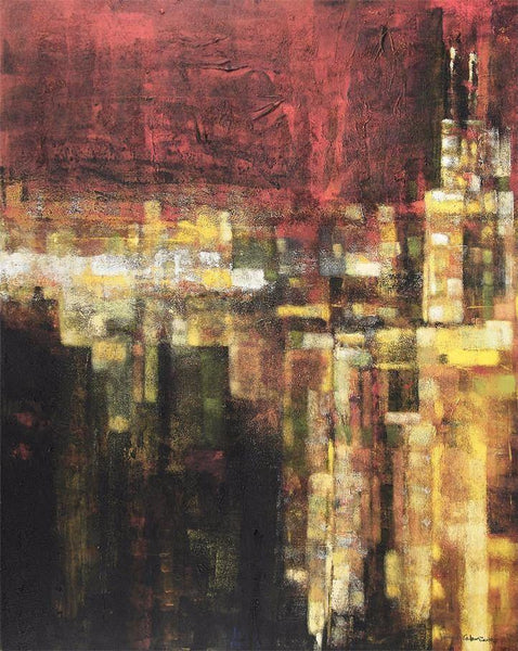 abstract cityscape  of Chicago at night