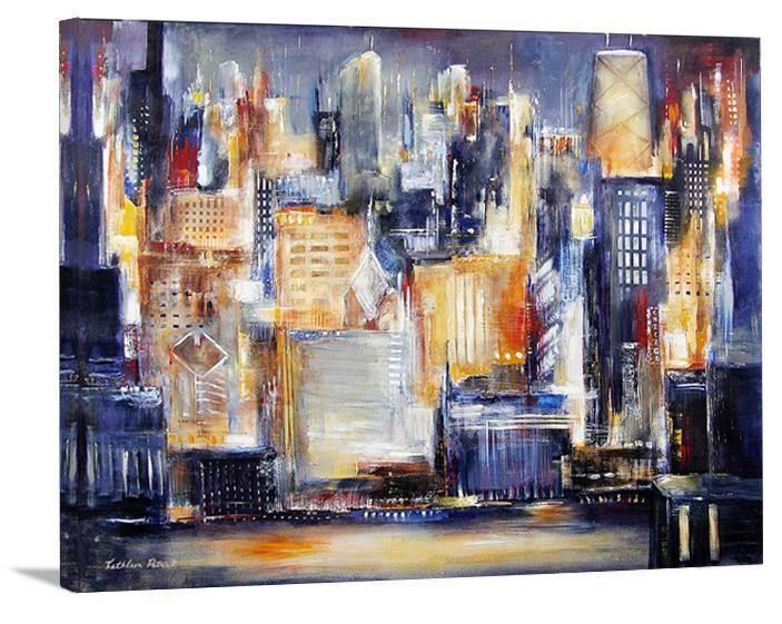 "Chicago Skyline Canvas Print -""In Chicago Tonight"" - Print on Canvas - Chicago Skyline Art"
