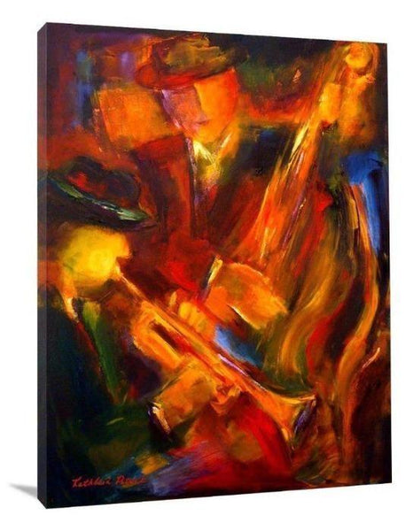"Jazz Art Canvas Print - ""Jazz Duet"" - Chicago Skyline Art"