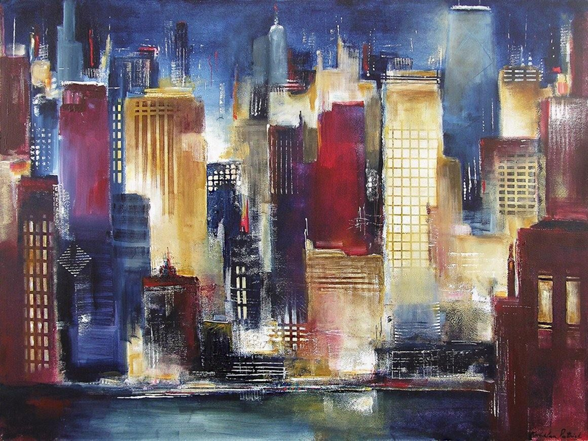 "Chicago Skyline Art  Print - ""Windy City Nights"" #2"