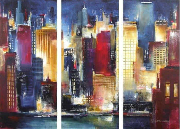 Chicago Skyline Painting In 3 Pieces