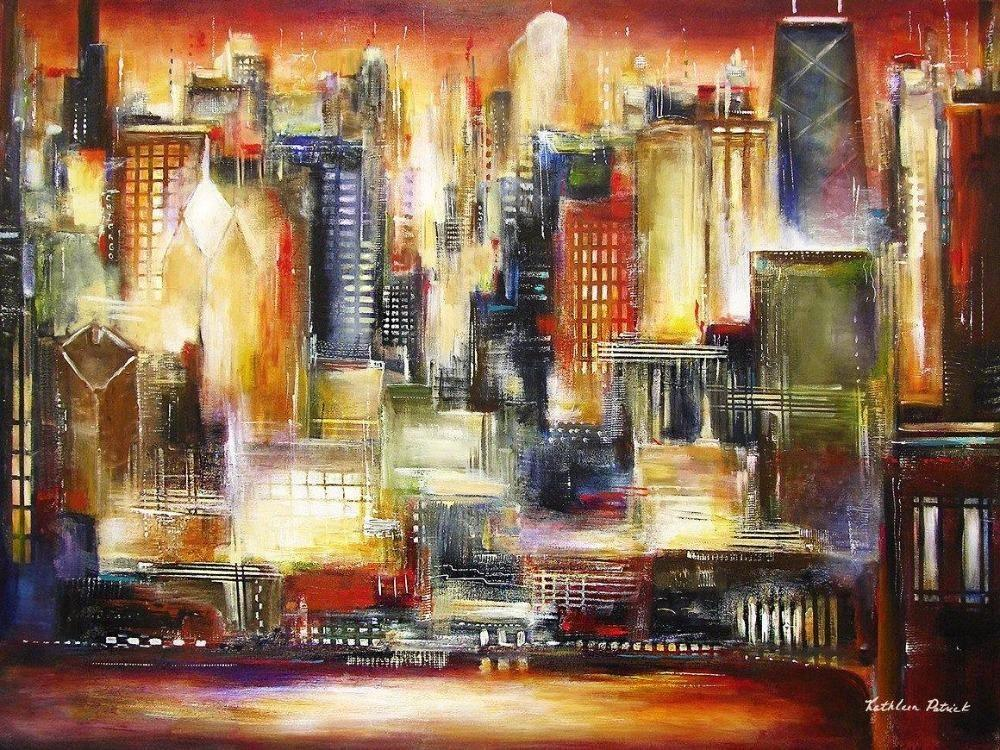 Canvas Print Of Chicago Skyline from a Painting of Chicago -