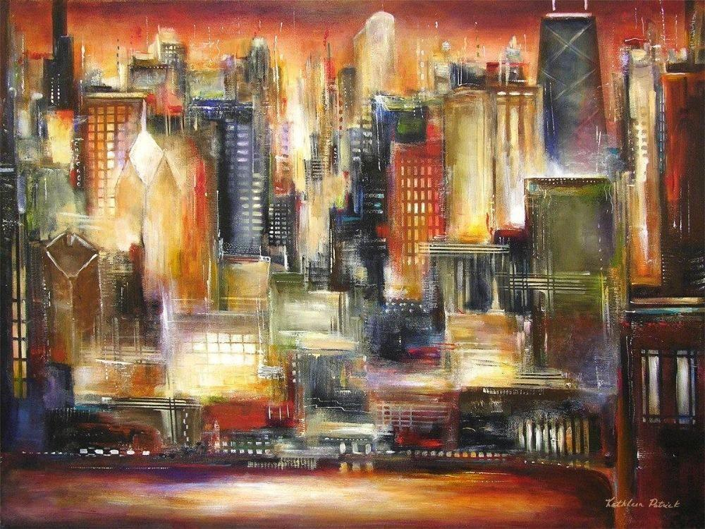 Painting of Chicago at Sunset - Print