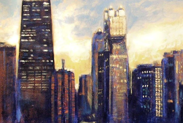 Chicago Skyline Canvas Art Print - detail