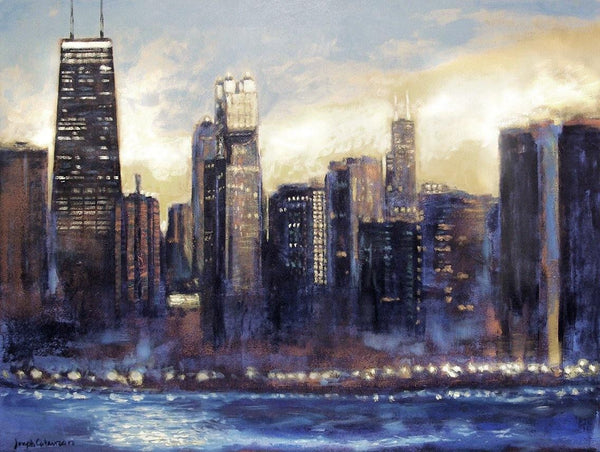 "Chicago Skyline Art Print - Neutral Colors - ""Chicago Sunset - Looking South"""