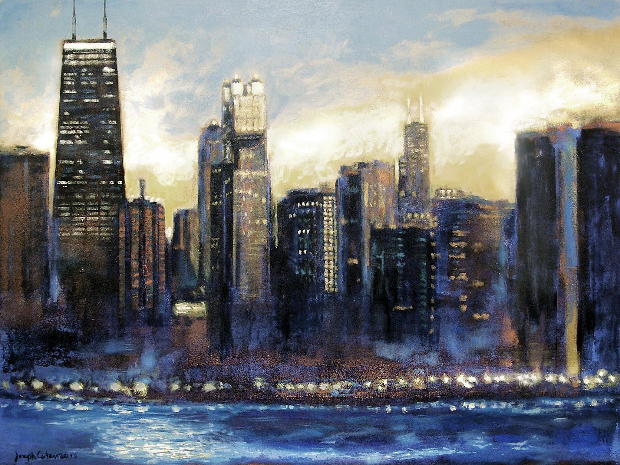 "Large Custom Painting of Chicago Skyline -  ""Chicago Sunset - Looking South"""