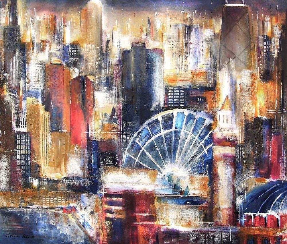 Chicago Print on Canvas - Painting of Navy Pier and the Chicago skyline