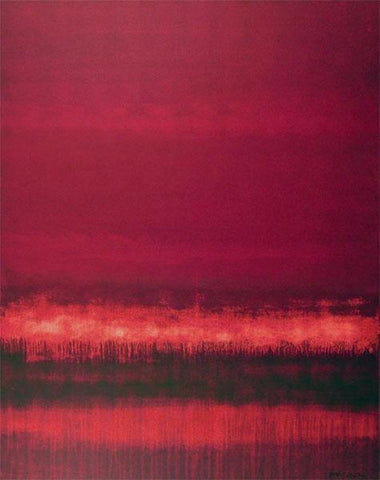 Fine art -  crimson abstract contemporary landscape painting.