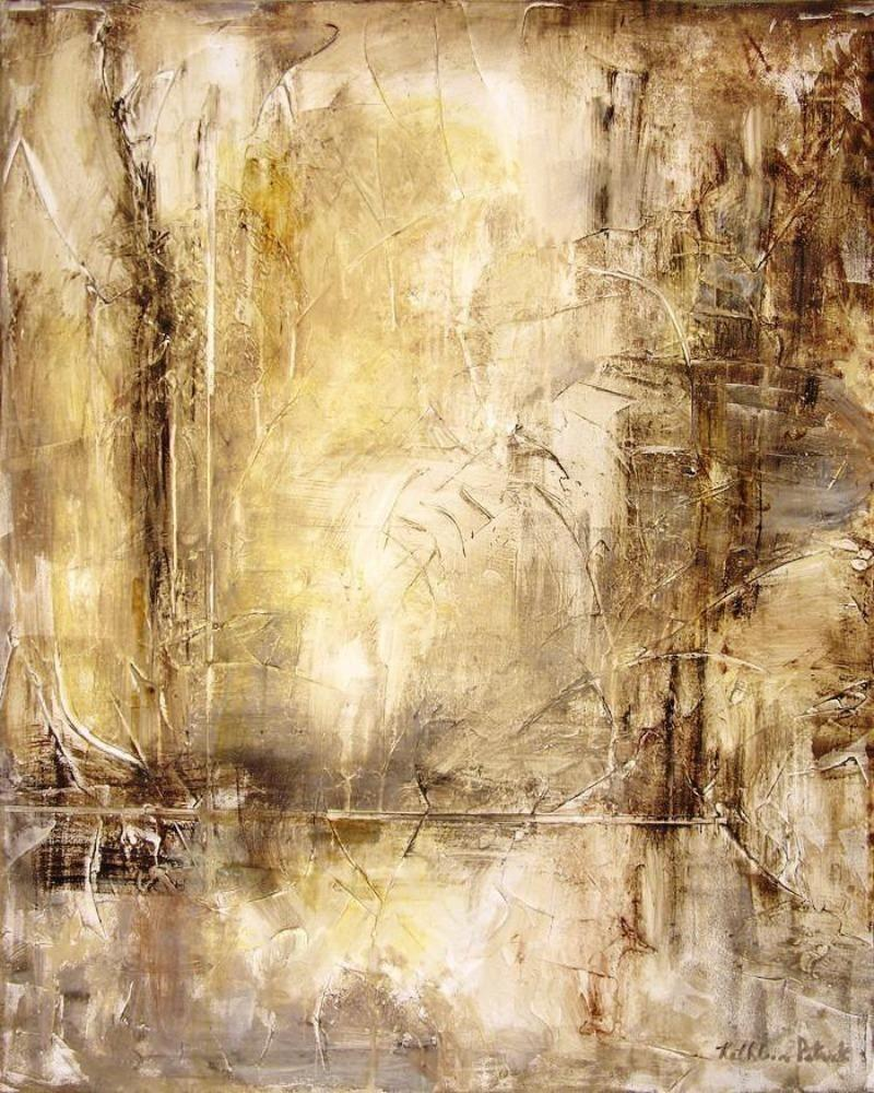 Abstract neutral canvas wrap print in browns and tans.