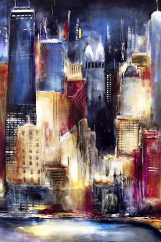 Chicago Painting print of Oak Beach Skyline