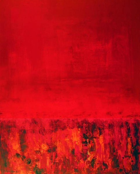 Red abstract contemporary landscape print on canvas