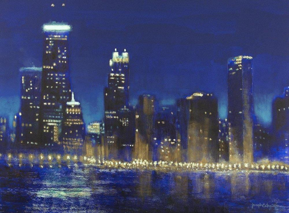 Chicago at night painting - canvas print
