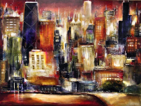 "Chicago Skyline Art Canvas Print- ""Oak Beach Skyline in Chicago"""