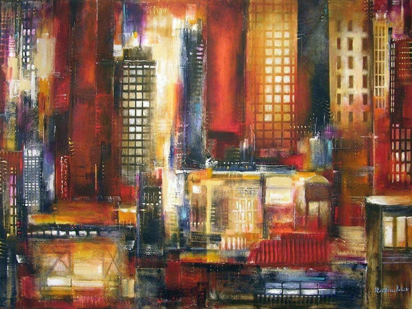 abstract Chicago cityscape canvas art print.