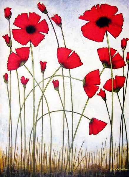 """Tall Red Poppies"" - Large Red Poppy Painting - Print"