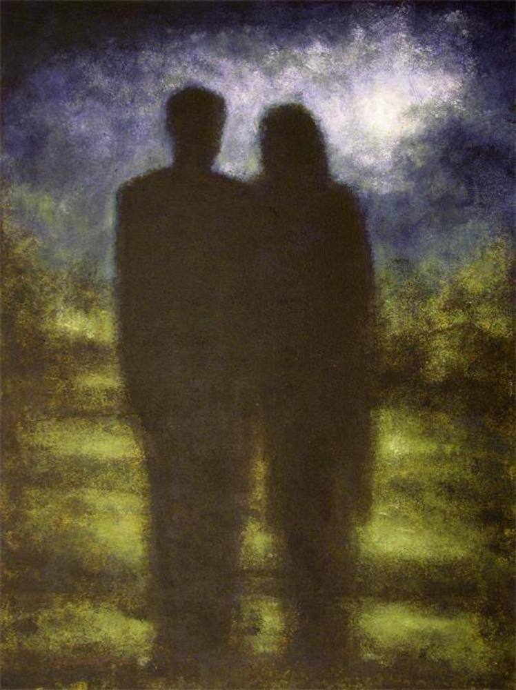 A Man and Woman Looking at The moon print on canvas