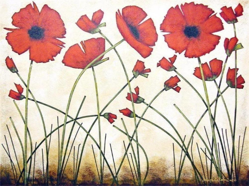Warm Red Poppy Print