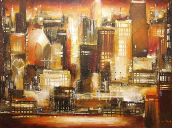 Sunset painting of Chicago canvas art print