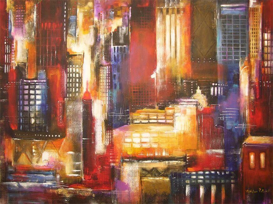 Chicago painting - Abstract cityscape