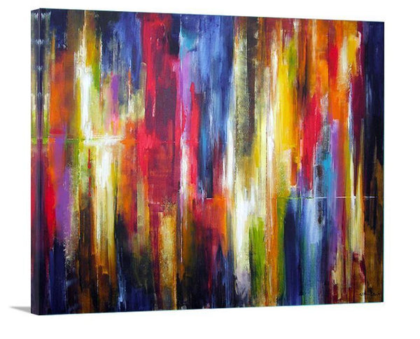 "Original Abstract Canvas Print - ""City Rhythms Aglow"" - Chicago Skyline Art"