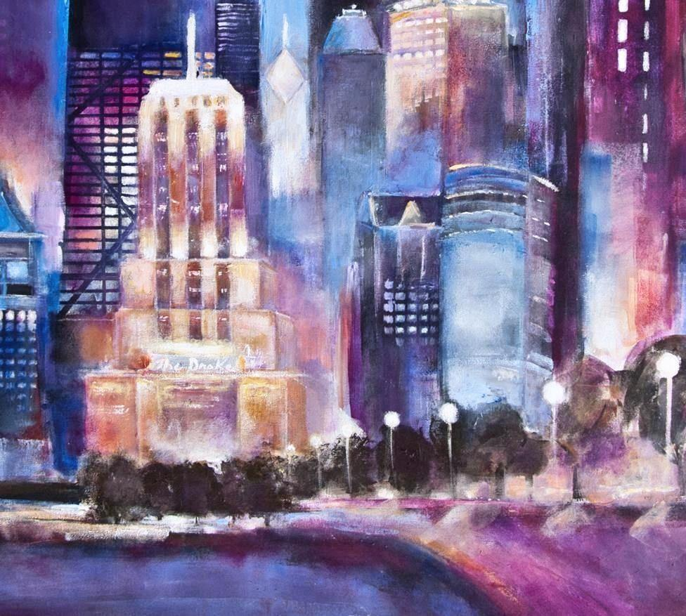 An original painting of Chicago on canvas - detail