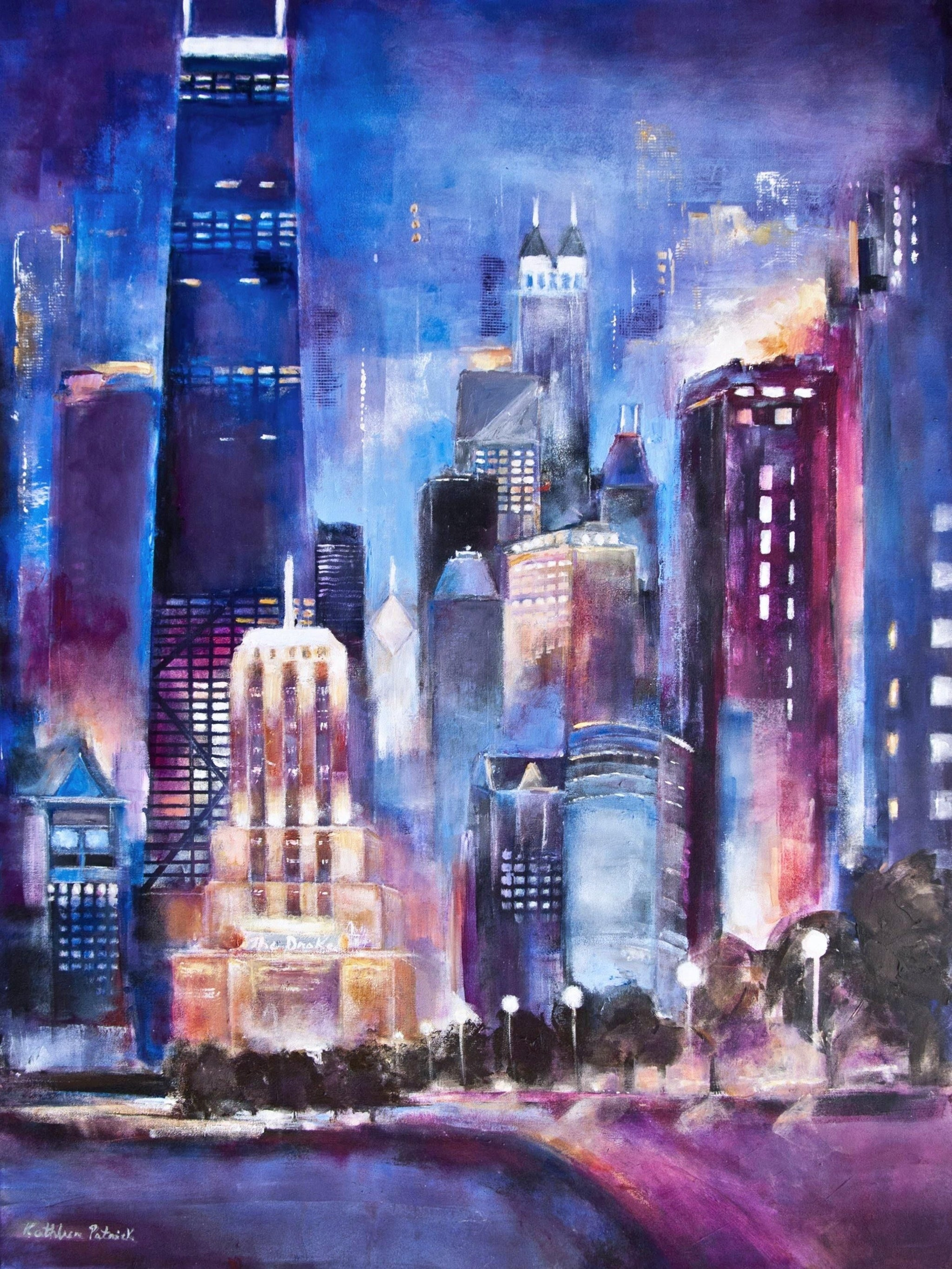An original painting of Chicago on canvas.