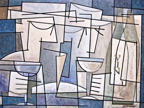 "Wall Art Wine Painting on Canvas - ""At the Wine Tasting"" - 36"" x 48"" x 1.5"""