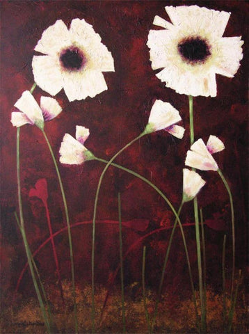 painting of white poppies - canvas print