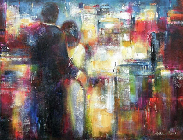 "Painting Print on Canvas-""Together in the City Tonight"""