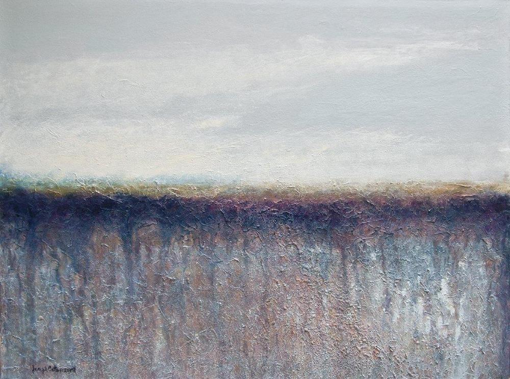 "Contemporary Landscape Neutral Colored Print on Canvas- ""Misty"""
