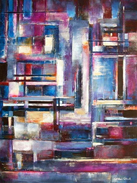 "Abstract Cityscape Canvas Print - ""In the City"""