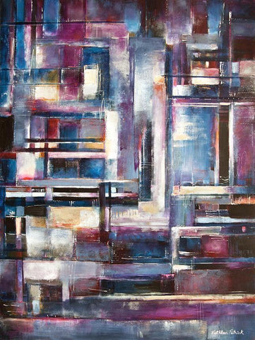 "Large Abstract Cityscape Painting - ""In the City"" - SOLD"