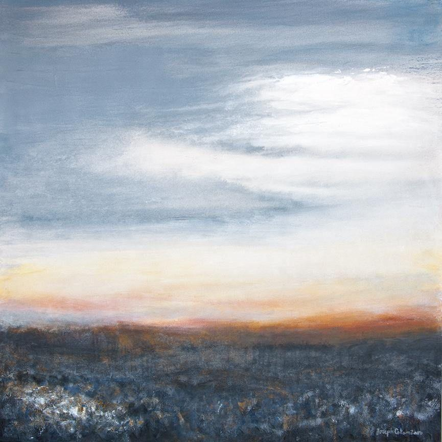 "Large Contemporary Landscape Painting - 48""x 48"" - ""As the Sun Rises"""